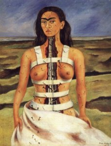 self portrait of Frida wearing a white brace-like aparattus that wraps around her chest and torso four time and come over her shoulders. A broken cement column is in place of her spine going from her neck to her waitst, a sheet covers her naked body from the waist down.  There are metal nails nailed into her on her skin and the white sheet, her breasts are exposed and she is crying, though her expression is stoic.