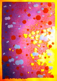 abstract painting with yellow, purple, pink and red spots.