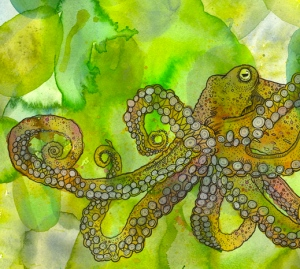 water color painting of an octopus done in greens, yellows, oranges and pinks.